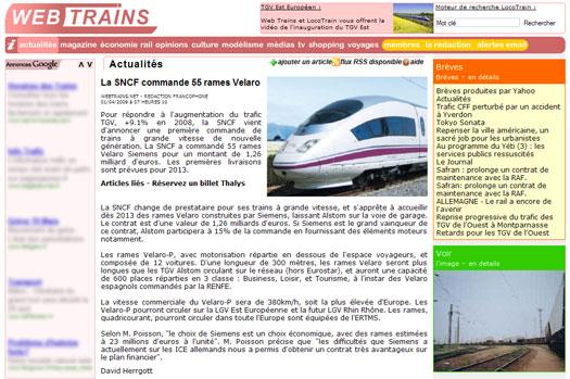 la SNCF commande 55 rames Velaro